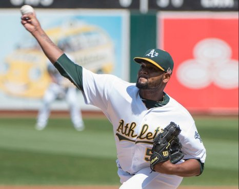 Oakland Athletics starting pitcher Raul Alcantara (50) pitches in the first inning of the game against the Seattle Mariners at the Oakland Coliseum in Oakland, Calif., on Sept. 11, 2016.