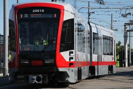 SFMTA welcomes Muni's new train in San Francisco, Calif., on Friday, January 13, 2017. The new addition will be a part of a 151-train fleet to begin transitioning into service by late summer 2017.