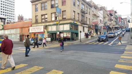 Pedestrians crossing Kearny and Clay streets are now able to cross diagonally while traffic halts to a stop in all directions.
