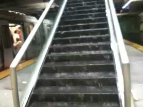 Underground flooding during a 2009 rainstorm at Van Ness Station was captured on YouTube by multiple Muni riders.