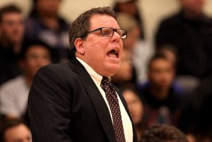 SF State Gators head coach Paul Trevor calls a play in the first half as the SF State Gators take on the Cal State LA Golden Eagles in a CCAA first round playoff game at SF State University in San Francisco, Calif., on Tuesday, February 28, 2017.