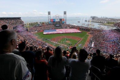 Pregame ceremonies take place before the Arizona Diamondbacks face the San Francisco Giants on opening day at AT&T Park in San Francisco, Calif., on Monday, April 10, 2017.