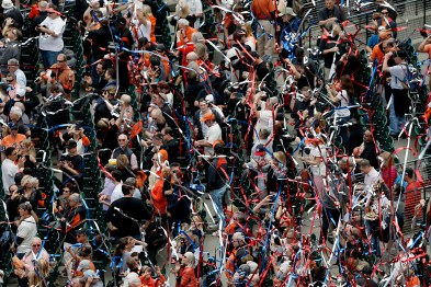 Streamers blow in the wind after the National Anthem before the Arizona Diamondbacks face the San Francisco Giants on opening day at AT&T Park in San Francisco, Calif., on Monday, April 10, 2017.