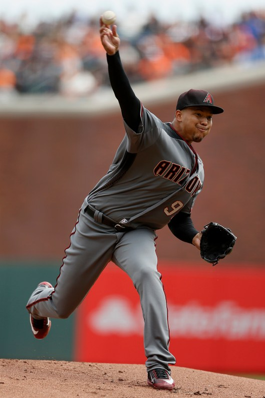 Arizona Diamondbacks starting pitcher TaijuanWalker (99) throws a pitch in the first inning as the Arizona Diamondbacks face the San Francisco Giants on opening day at AT&T Park in San Francisco, Calif., on Monday, April 10, 2017.