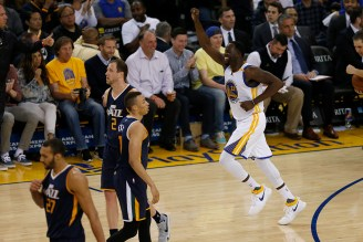 Golden State Warriors forward Draymond Green (23) reacts after a foul was called against Utah in the second half as the Utah Jazz face the Golden State Warriors at Oracle Arena in Oakland, Calif., on Monday, April 10, 2017.