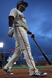 San Francisco Giants shortstop Eduardo Nunez (10) walks up to the plate in the second inning as the Arizona Diamondbacks face the San Francisco Giants at AT&T Park in San Francisco, Calif., on Tuesday April 11, 2017.