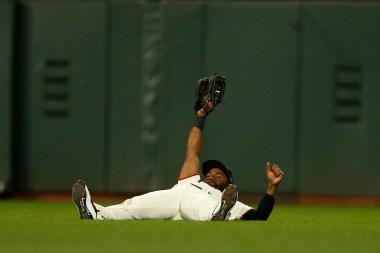 San Francisco Giants center fielder Denard Span (2) secures a catch off the bat of Colorado Rockies shortstop Trevor Story (27) in the eighth inning as the Colorado Rockies face the San Francisco Giants at AT&T Park in San Francisco, Calif., on Thursday, April 13, 2017.
