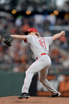Cincinnati Reds starting pitcher Bronson Arroyo (61) throws a pitch in the first inning as the Cincinnati Reds face the San Francisco Giants at AT&T Park in San Francisco, Calif., on Thursday, May 11, 2017.