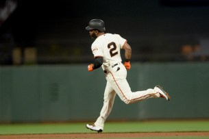 San Francisco Giants center fielder Denard Span (2) rounds the bases after a home run in the fifth inning as the Cincinnati Reds face the San Francisco Giants at AT&T Park in San Francisco, Calif., on Thursday, May 11, 2017.