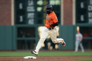 San Francisco Giants center fielder Denard Span (2) rounds the bases after a first inning home run as the Cincinnati Reds face the San Francisco Giants at AT&T Park in San Francisco, Calif., on Friday, May 12, 2017.