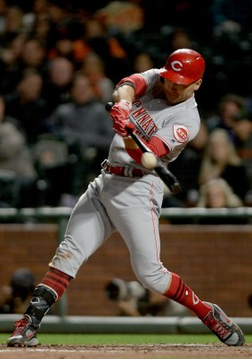 Cincinnati Reds first baseman Joey Votto (19) flies out to end the eighth inning as the Cincinnati Reds face the San Francisco Giants at AT&T Park in San Francisco, Calif., on Friday, May 12, 2017.