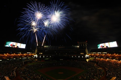 Fireworks burst in air during the Hip Hop fireworks night promotion after the Boston Red Sox fell to the Oakland Athletics 3-2 in ten innings at Oakland Coliseum in Oakland, Calif., on Friday, May 19, 2017.