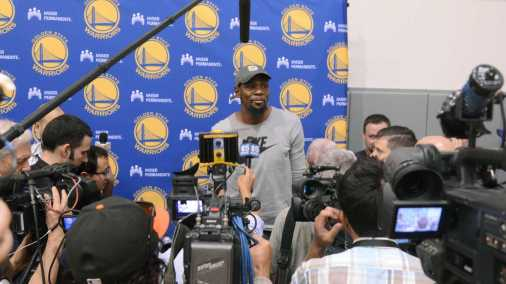 Golden State Warriors F Kevin Durant (35) stands up to leave after answering questions during the Warriors end-of-season media session at their practice facility in Oakland, Calif. on Wednesday, Jun. 14, 2017. On Monday, the Warriors beat the Cleveland Cavaliers to win the NBA Finals.