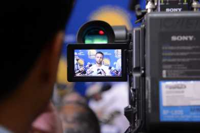 Golden State Warriors G Stephen Curry (30) answers questions during the Warriors end-of-season media session at their practice facility in Oakland, Calif. on Wednesday, Jun. 14, 2017. On Monday, the Warriors beat the Cleveland Cavaliers to win the NBA Finals.