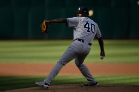 New York Yankees starting pitcher Luis Severino (40) throws a pitch in the first inning as the New York Yankees face the Oakland Athletics at Oakland Coliseum in Oakland, Calif., on Friday, June 16, 2017.