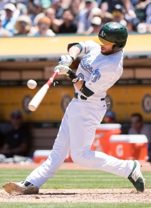 Oakland Athletics second baseman Jed Lowrie (8) breaks his bat on a grounder in the third inning of the game against the New York Yankees at the Oakland Coliseum in Oakland, Calif., on June 18, 2017.