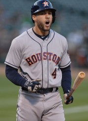 Houston Astros right fielder George Springer (4) reacts after striking out in the third inning as the Houston Astros face the Oakland Athletics at Oakland Coliseum in Oakland, Calif., on Wednesday, June 21, 2017.