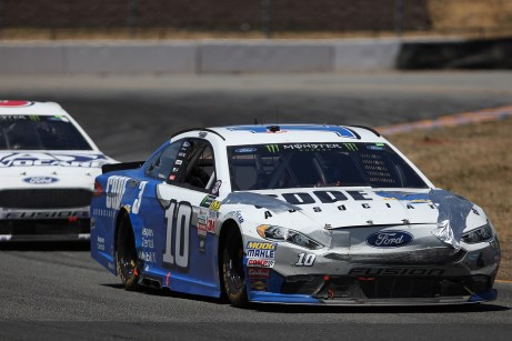 Monster Energy NASCAR Cup Series driver Danica Patrick (10) pulls away from Monster Energy Trevor Bayne (6) at the Toyota/Save Mart 350 at Sonoma Raceway in Sonoma, Calif., on Sunday, June 24, 2017.