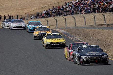 Monster Energy NASCAR Cup Series driver Ryan Newman (31) leads a pack down the hill at the Toyota/Save Mart 350 at Sonoma Raceway in Sonoma, Calif., on Sunday, June 24, 2017.