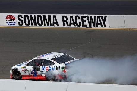 Monster Energy NASCAR Cup Series driver Kevin Harvick (4) celebrates a victory at the Toyota/Save Mart 350 at Sonoma Raceway in Sonoma, Calif., on Sunday, June 24, 2017.