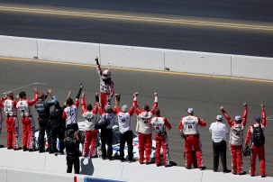 Monster Energy NASCAR Cup Series driver Kevin Harvick (4) celebrates a victory with his teammates at the Toyota/Save Mart 350 at Sonoma Raceway in Sonoma, Calif., on Sunday, June 24, 2017.