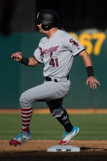 Chicago White Sox center fielder Adam Engel (41) runs the bases in the third inning of the game against the Oakland Athletics at the Oakland Coliseum in Oakland, Calif., on July 3, 2017.