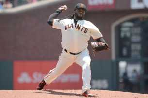 San Francisco Giants pitcher Johnny Cueto (47) throws a pitch in the first inning as the Miami Marlins face the San Francisco Giants at AT&T Park on Friday, July 9, 2017.