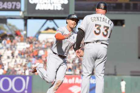 Miami Marlins right fielder Giancarlo Stanton (27) rounds third base after hitting a home run in the eleventh inning as the Miami Marlins face the San Francisco Giants at AT&T Park on Friday, July 9, 2017.