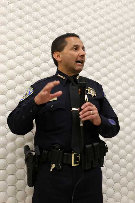 BART Chief of Police Carlos Rojas addresses the public on issues with crime at BART Powell Station in San Francisco, Calif., on Thursday, July 13, 2017.