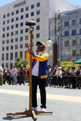 Carl Payne, who has won the Cable Car Bell Ringing Contest 10 times, performs at Union Square in San Francisco, Calif., on , Thursday,July 13, 2017.