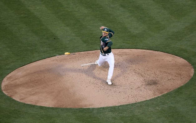 Oakland Athletics starting pitcher Sonny Gray (54) throws a pitch in the third inning as the Cleveland Indians face the Oakland Athletics at Oakland Coliseum in Oakland, Calif., on Friday, July 14, 2017.