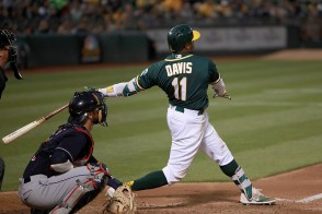 Oakland Athletics left fielder Rajai Davis (11) connects for a solo homer in the fifth inning as the Cleveland Indians face the Oakland Athletics at Oakland Coliseum in Oakland, Calif., on Friday, July 14, 2017.