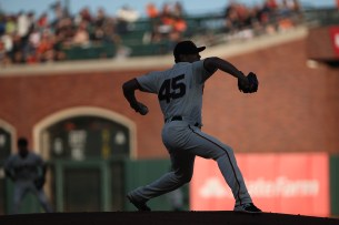 San Francisco Giants pitcher Matt Moore (45) throws a pitch in the first inning as the Cleveland Indians face the San Francisco Giants at AT&T Park in San Francisco, Calif., on Monday, July 17, 2017.