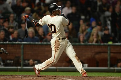 San Francisco Giants third baseman Eduardo Nunez (10) doubles in the sixth inning as the Cleveland Indians face the San Francisco Giants at AT&T Park in San Francisco, Calif., on Tuesday, July 18, 2017.