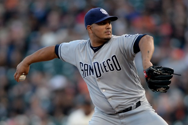 San Diego Padres starting pitcher Jhoulys Chacin (46) throws a pitch in the first inning as the San Diego Padres face the San Francisco Giants at AT&T Park in San Francisco, Calif., on Thursday, July 20, 2017.
