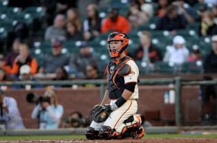 San Francisco Giants catcher Buster Posey (28) looks up after a Padres home run in the second inning as the San Diego Padres face the San Francisco Giants at AT&T Park in San Francisco, Calif., on Thursday, July 20, 2017.