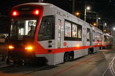 San Francisco's newest Muni trains get ready for a night of testing in San Francisco, Calif., on Friday, July 21, 2017.