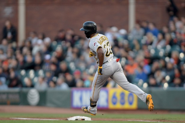 Pittsburgh Pirates center fielder Andrew McCutchen (22) rounds the bases after a 3-run home run in the second inning as the Pittsburgh Pirates face the San Francisco Giants at AT&T Park in San Francisco, Calif., on Monday, July 24, 2017.