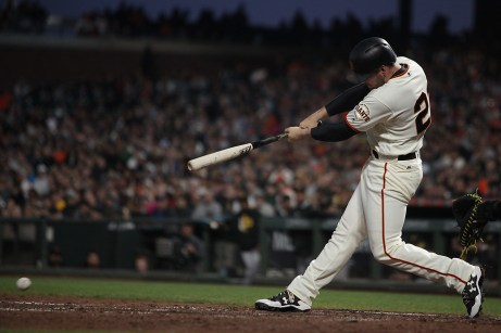 San Francisco Giants infielder Conor Gillaspie (21) grounds out to end the fourth inning as the Pittsburgh Pirates face the San Francisco Giants at AT&T Park in San Francisco, Calif., on Monday, July 24, 2017.