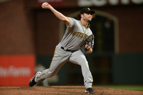 Pittsburgh Pirates starting pitcher Gerrit Cole (45) throws a pitch in the fifth inning as the Pittsburgh Pirates face the San Francisco Giants at AT&T Park in San Francisco, Calif., on Monday, July 24, 2017.