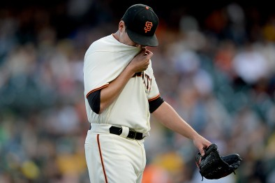 San Francisco Giants pitcher Matt Moore (45) walks off the field in the second inning as the Oakland Athletics face the San Francisco Giants at AT&T Park in San Francisco, Calif., on Tuesday, August 2, 2017.