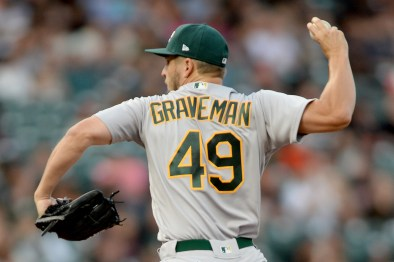 Oakland Athletics starting pitcher Kendall Graveman (49) throws a pitch in the first inning as the Oakland Athletics face the San Francisco Giants at AT&T Park in San Francisco, Calif., on Thursday, August 3, 2017.