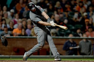 Arizona Diamondbacks first baseman Paul Goldschmidt (44) connects for an RBI single in the sixth inning as the Arizona Diamondbacks face the San Francisco Giants at AT&T Park in San Francisco, Calif., on Friday, August 4, 2017.