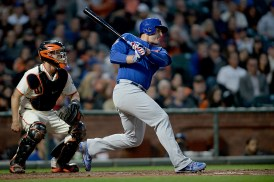 Chicago Cubs first baseman Anthony Rizzo (44) singles in the fourth inning as the Chicago Cubs face the San Francisco Giants at AT&T Park in San Francisco, Calif., on Tuesday, August 8, 2017.