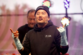 Chef Roy Choi talks with the crowd during a cooking demo at the Outside Lands Music Festival at Golden Gate Park in San Francisco, Calif., on Saturday, August 12, 2017.