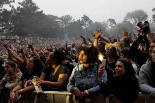 Fans watch as Rebelution performs at the Outside Lands Music Festival at Golden Gate Park in San Francisco, Calif., on Sunday, August 13, 2017.
