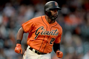 San Francisco Giants center fielder Denard Span (2) singles in the first inning as the Philadelphia Phillies face the San Francisco Giants at AT&T Park in San Francisco, Calif., on Friday, August 18, 2017.