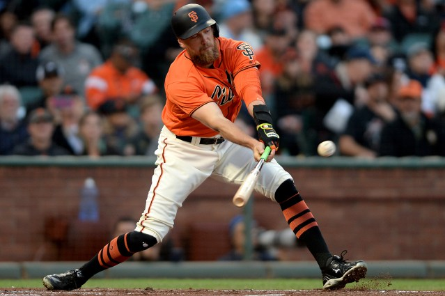 San Francisco Giants right fielder Hunter Pence (8) doubles in the first inning as the Philadelphia Phillies face the San Francisco Giants at AT&T Park in San Francisco, Calif., on Friday, August 18, 2017.