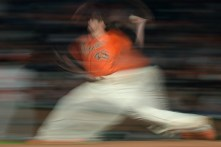 San Francisco Giants pitcher Matt Moore (45) throws a pitch in the seventh inning as the Philadelphia Phillies face the San Francisco Giants at AT&T Park in San Francisco, Calif., on Friday, August 18, 2017.