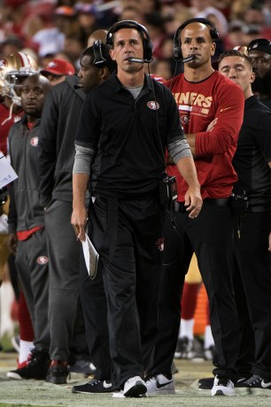 San Francisco 49ers Head Coach Kyle Shanahan stands on the sideline in the second quarter of the game against the Denver Broncos at Levi's Stadium in Santa Clara, Calif., on August 19, 2017.